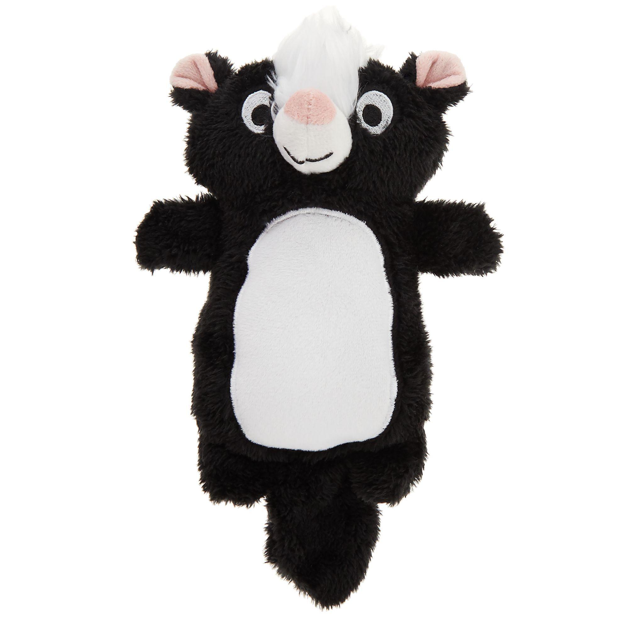 Top Paw Skunk Dog Toy Plush Squeaker Black Pink White Dog