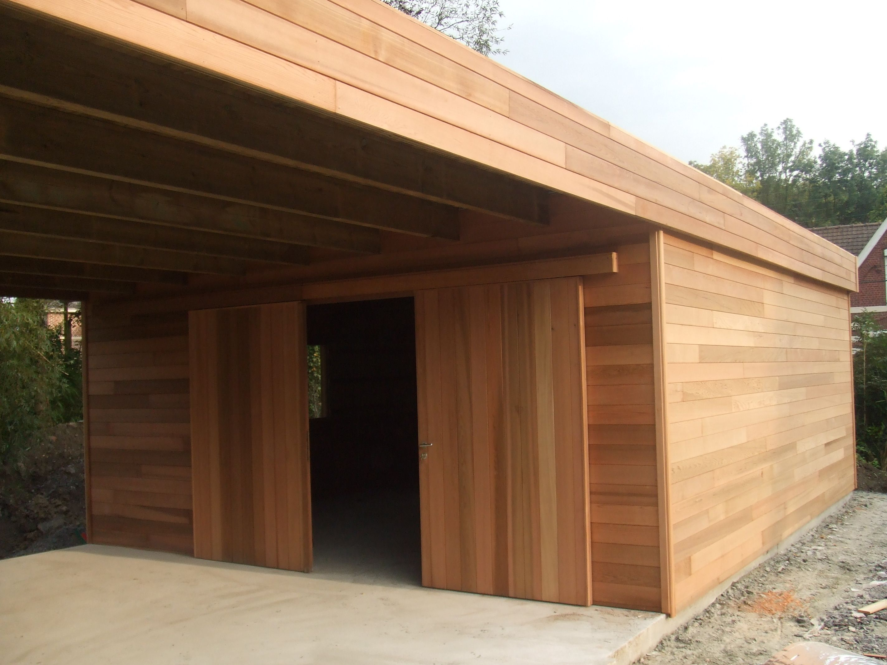 Garage carport en Red cedar Carport bois, Garage bois et