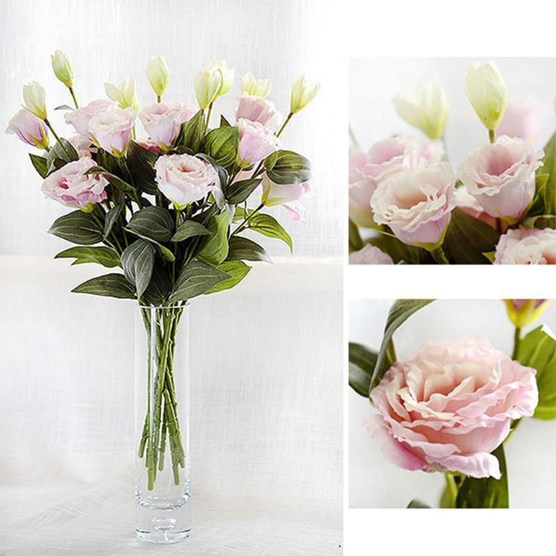 3 Heads European Artificial Flower Fake Eustoma Grandiflorum Lisianthus Christmas Wedding Party Home Decor Artificial Flowers Wedding Flowers Christmas Wedding