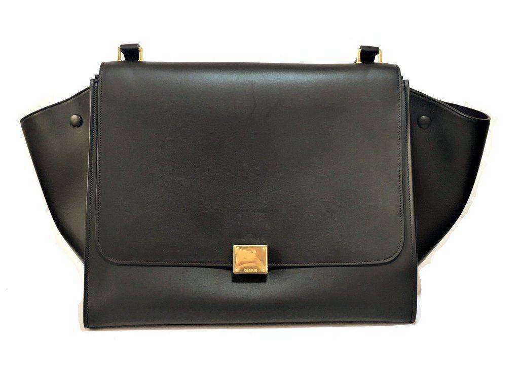 4c46b5f668b4 Celine Large TRAPEZE Black Leather Bag