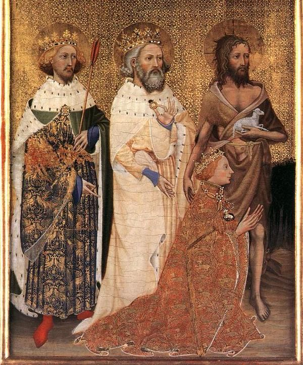 3 British Kings: King Richard II, kneeling, with King Edward the Confessor (in white) & King Edward the Martyr (left) http://t.co/DEKuIQCxOf