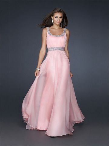 Scoop Neckline with Sequins A-line Floor Length Chiffon Homecoming Dress HD1489 www.homecomingstore.com $178.0000