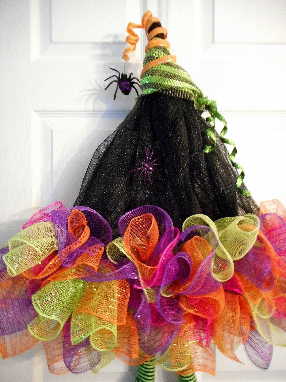Halloween Deco Mesh Wreaths, Witch\u0027s Hat Wreath, Witches Hat Deco - Whimsical Halloween Decorations