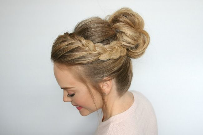 Double Lace Braid High Bun Hair Styles Cool Hairstyles Braided Bun Hairstyles