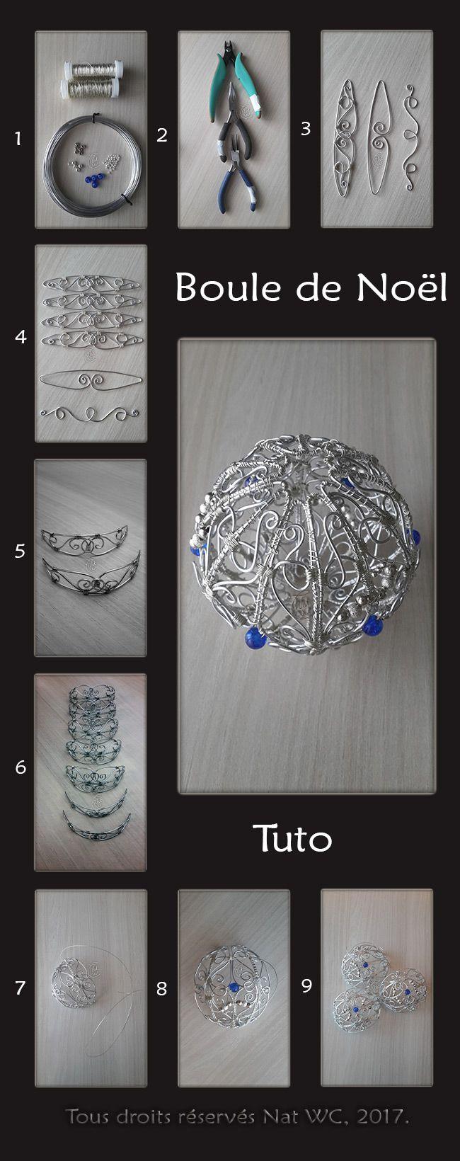 Tutoriel (Tuto) pour la réalisation de la Boule de Noël « L'incroyable » - Réalisation [ Fait-Main ] avec du fil d'aluminium (Ø1), des fils métalliques (Ø0,3), des perles métalliques et des perles de verre. / Matériaux utilisés : fils d'aluminium (3/2/0,8), fil métallique  (0,3mm), perles en verre, perles de rocaille. Conception et réalisation en suivant les traits sur mon gabarit papier. Assemblage élément par élément.  Ref. : Tuto_Boule-de-Noel. #bouledenoel