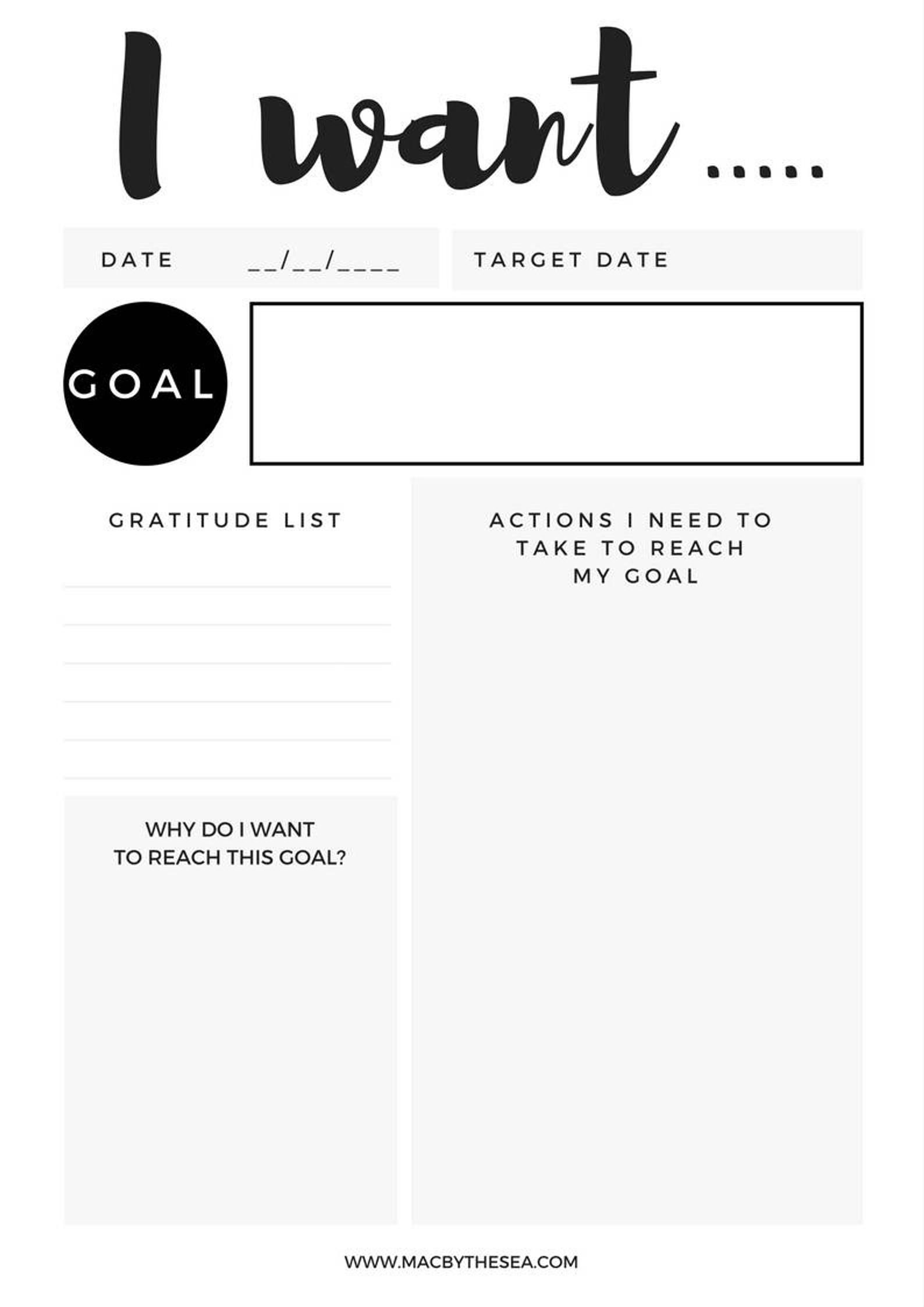 Monthly Goal Tracker Worksheet Instant Download Goal