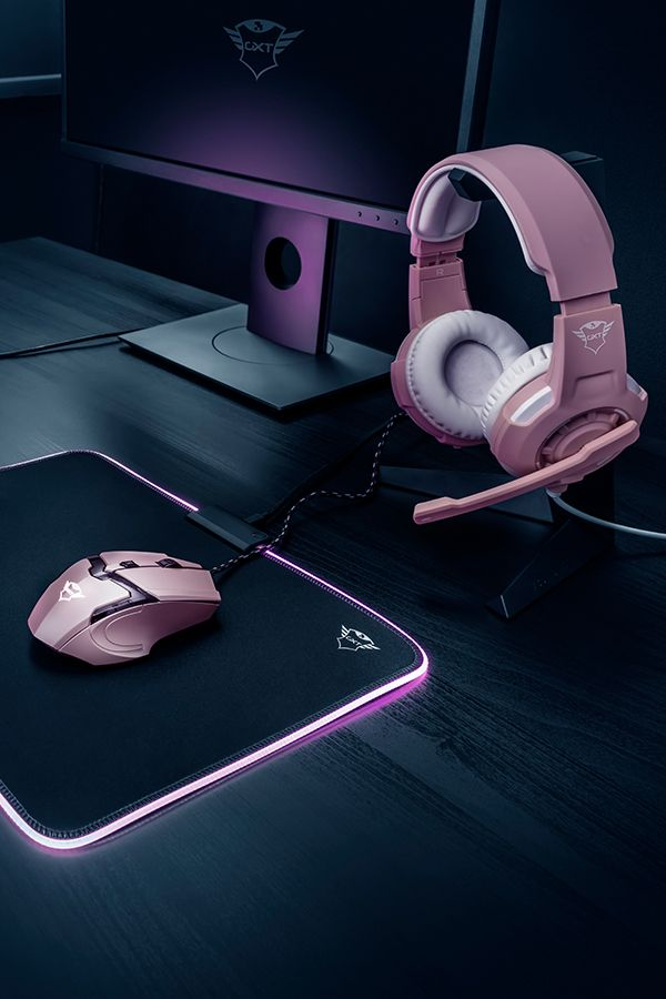The ultimate gaming room combo for a gamer girl! Pink Gaming Headset, pink Gaming mouse & pink LED illuminated mousepad. #gamerroom