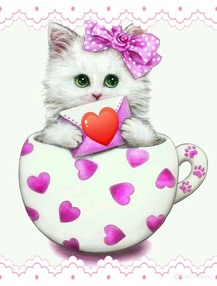 Котики картинки сердечки