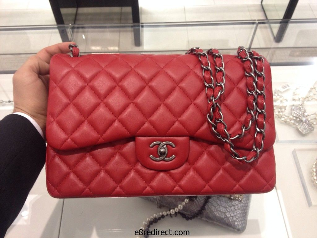 90fc05ce2b3 Replica Chanel Red Jumbo Timeless Classic Flap Bag - Prefall 2014 ...