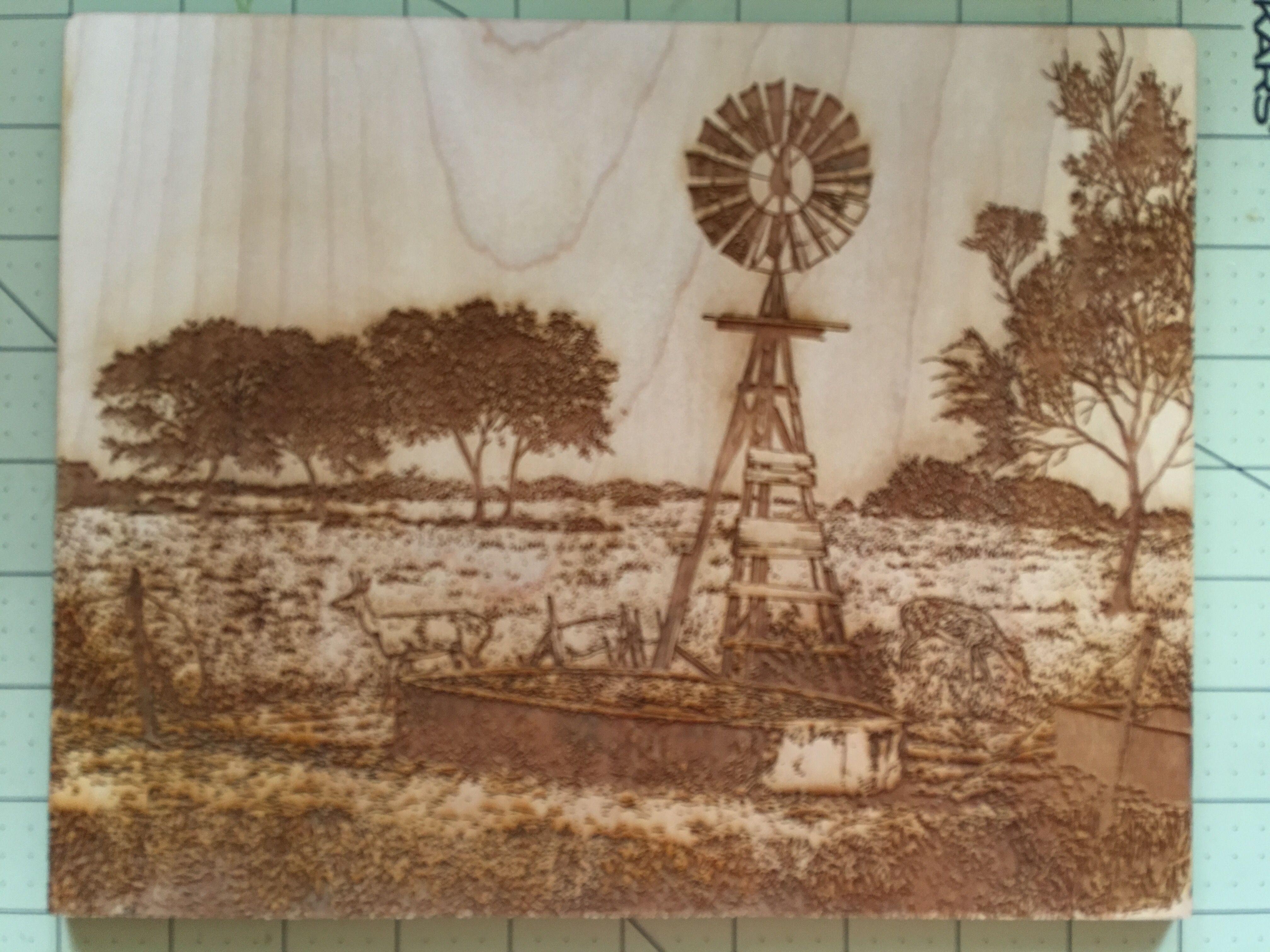Engraved art on 8 x 10 maple artist robert ruhmann
