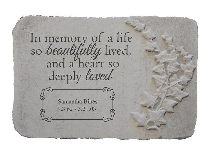 Personalized Memorial Garden Stone In Memory Of A Life In 2020 Memorial Garden Stones Memories Memorial Garden