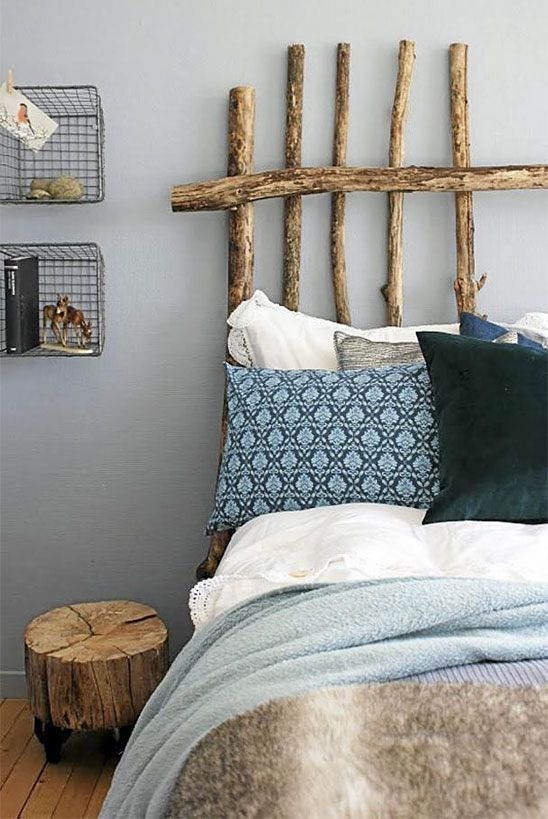 A Simple Rustic Chic Headboard Made From Thin Logs