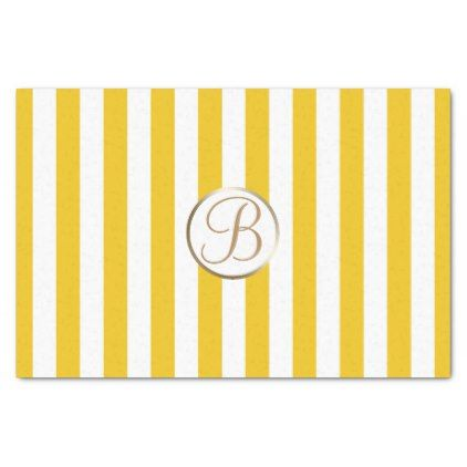 Yellow White Stripes Monogram Letter Initial Tissue Paper - celebration letter