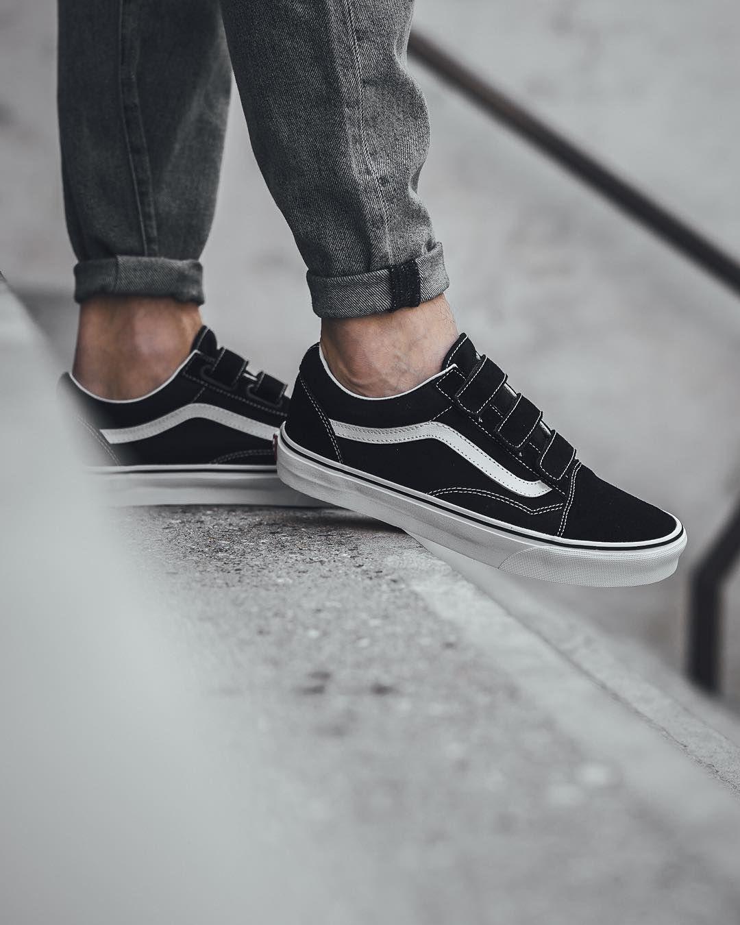 Vans Old Skool Velcro Black White Vans Shoes Women Velcro Shoes Vans
