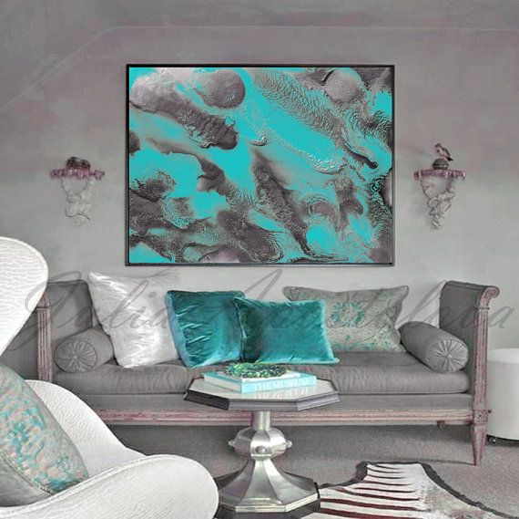 54inch, Turquoise and Silver, Abstract Painting, Large Wall Art, Watercolor, Fine Art Print, Abstract Seascape, ''Rhapsody in Turquoise''