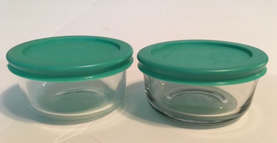Set Of 2 Pyrex 1 Cup Glass Food Storage Bowl 4 Plastic Lids Green 7202 Pyrex Glass Food Storage Storage Bowls Pyrex