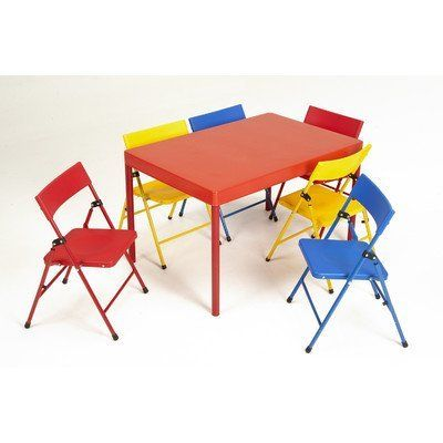 Cosco Products 37371red1e Kid S 7 Piece Folding Chair And Table