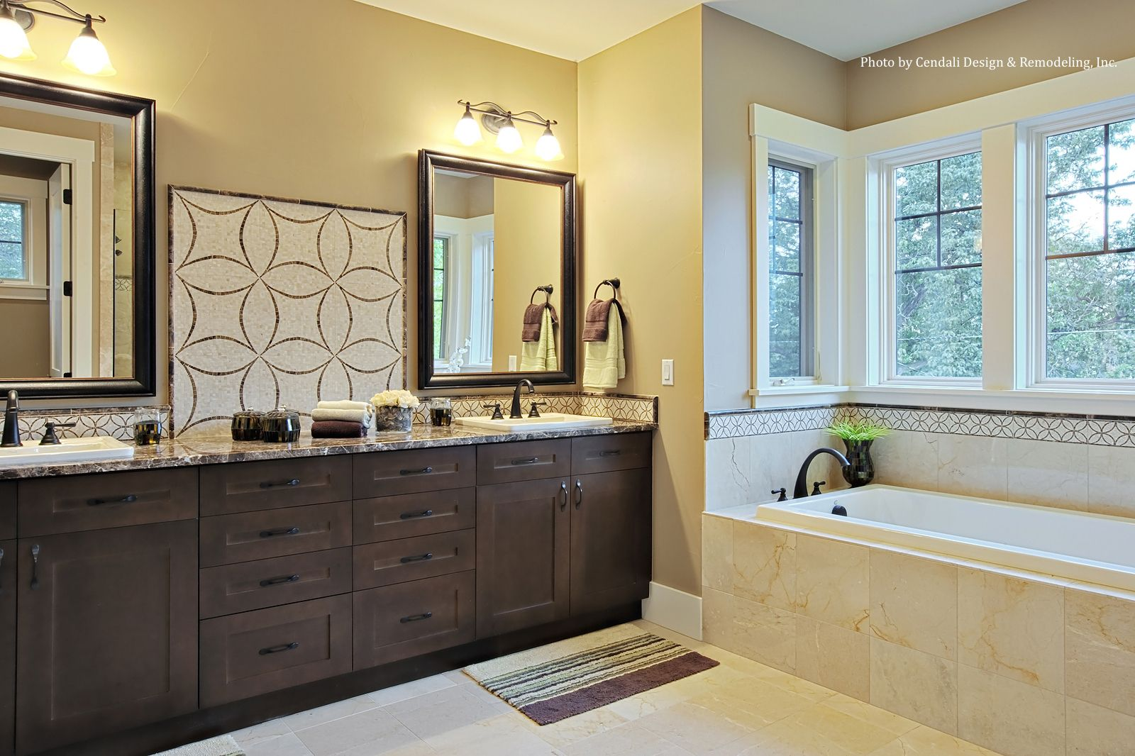 Oil Rubbed Bronze Plumbing Fixtures And Large Windows Surrounding A - Cost to add window in bathroom