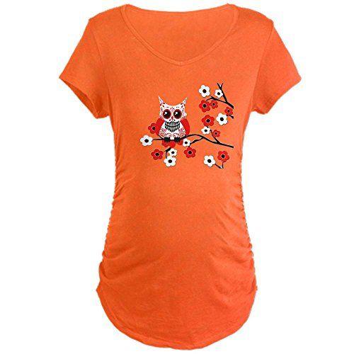 CafePress Maternity Sugar Skull Owl T-Shirt