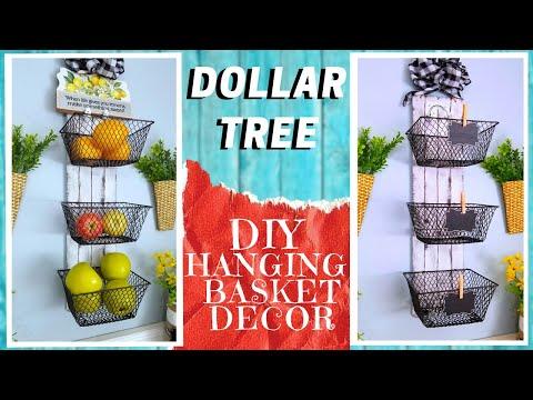 44 Diy Dollar Tree 3 Basket Hanging Shelf Decor How To