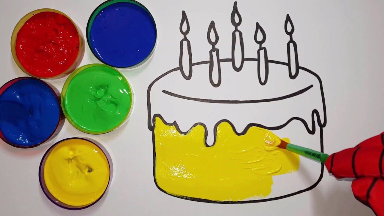 Painting birthday cake with candles l coloring pages for kids