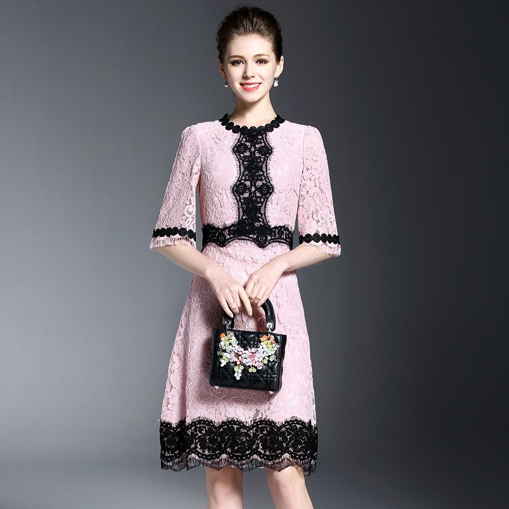 Lace dress gray  Top Quality Ladies Grace Pink Lace Dress Europe Brand Sweet