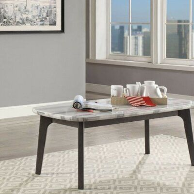 Wrought Studio Zamora Transitional Rectangular Marble and Wood Coffee Table | Wayfair