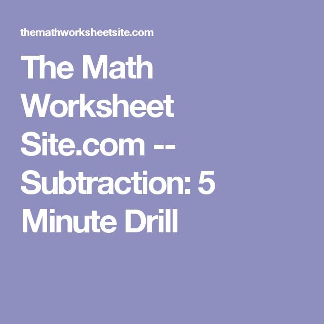 Math Worksheet Site Subtraction