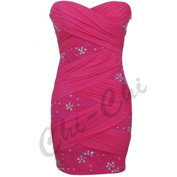 SALE! FUCHSIA MESH LACE FLOWER DIAMANTE DETAIL BANDEAU COCKTAIL DRESS... ❤ liked on Polyvore