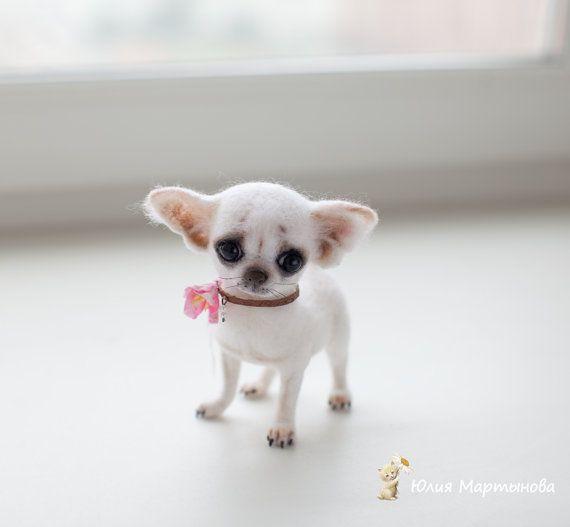 Chihuahua Bella 12 Cm Verkauft 3 Wochen Von Yulyamartinovadolls Felt Dogs Cute Small Animals Cute Baby Animals
