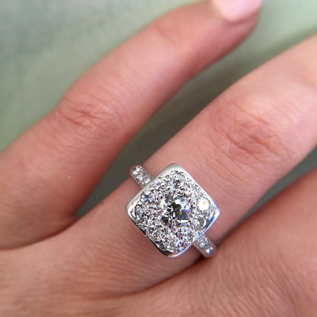 diamond cluster ring vintage | Engagement Rings | Pinterest ...
