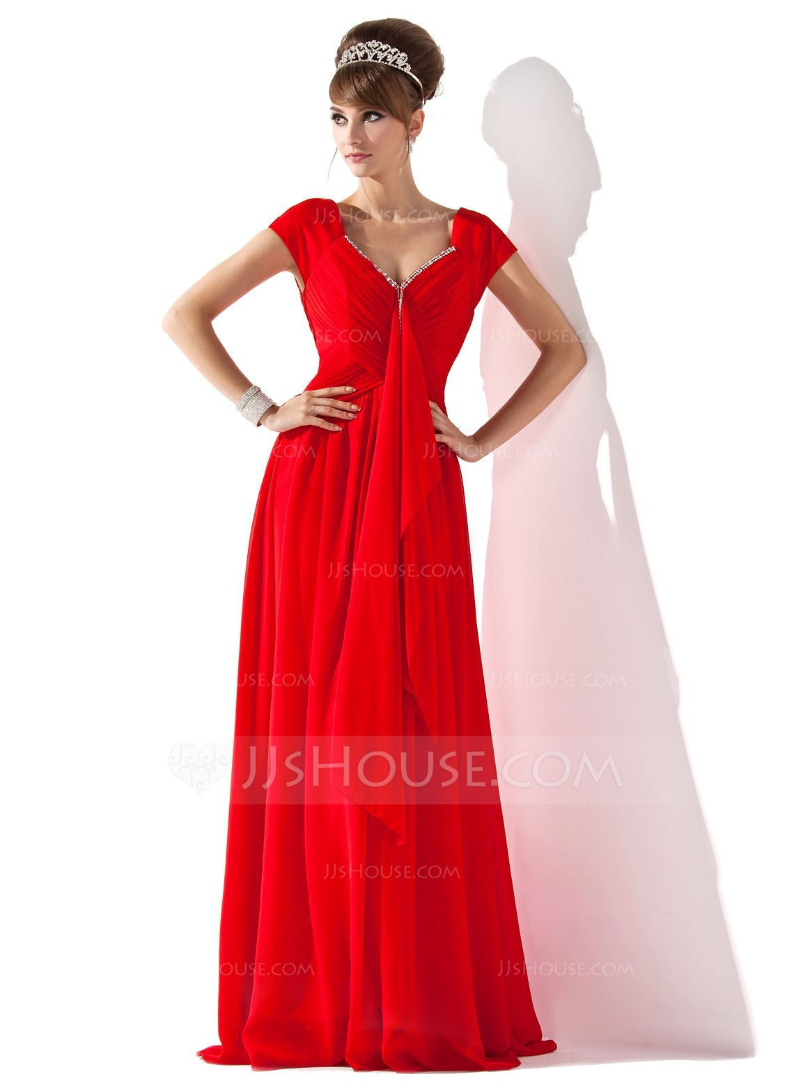 A-Line/Princess V-neck Floor-Length Chiffon Mother of the Bride Dress With Beading Cascading Ruffles (008013794) - JJsHouse