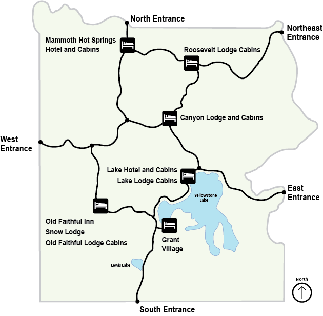 Yellowstone Map Of Park Showing Locations Of Lodges