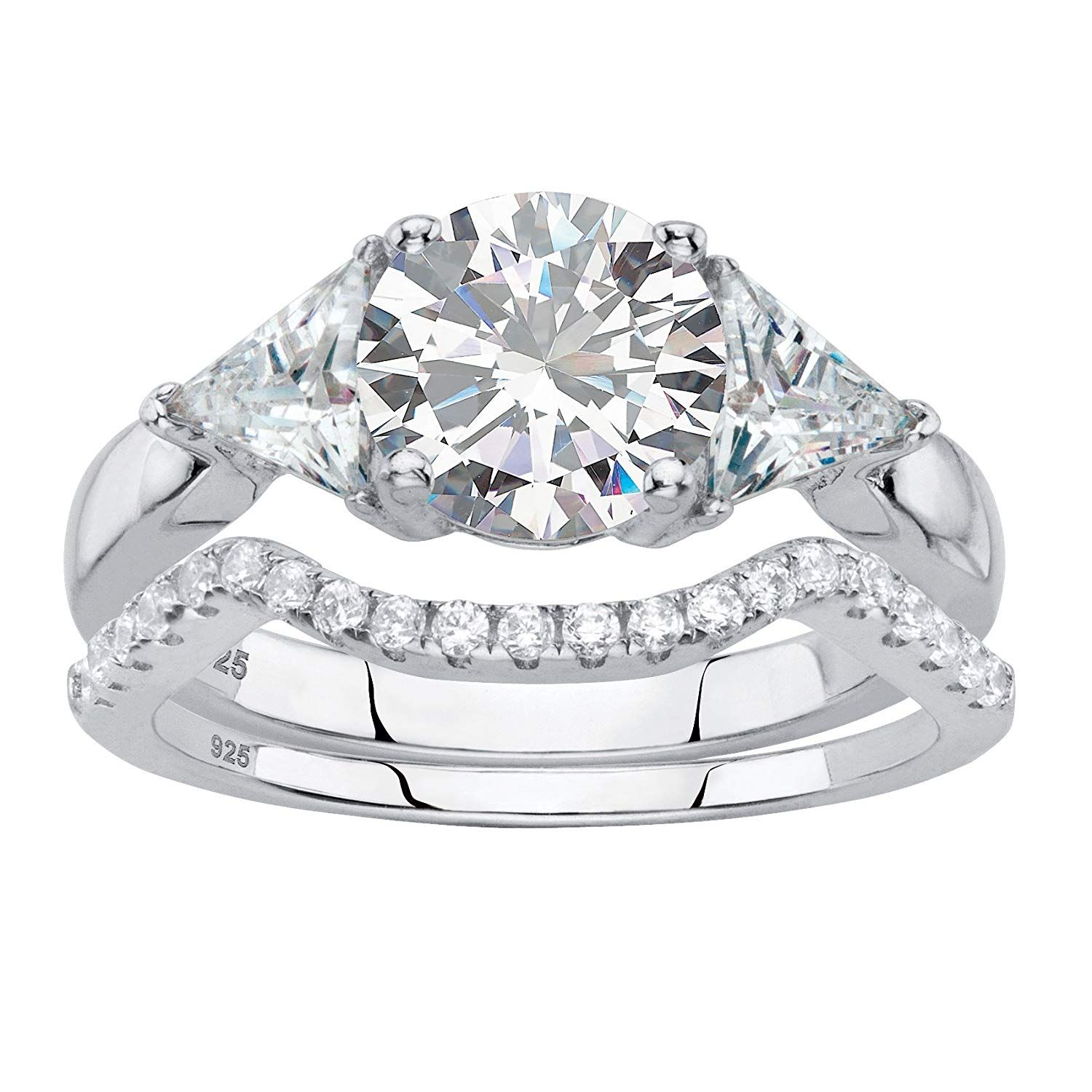 Round White Cubic Zirconia Platinum Over 925 Silver 2 Piece Bridal Ring Set Nice Of You To Drop By To Vis Bridal Rings White Gold Jewelry Bridal Ring Sets