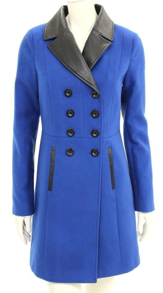 Armani Collezioni Cobalt Blue Wool & Black Leather Double Breasted Coat Sz 2 NEW #ArmaniCollezioni #BasicCoat