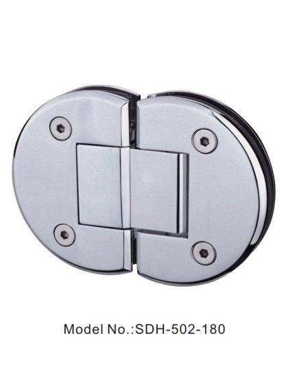 180 Degree Polished Chrome Shower Door Hinges Glass To Glass Mount