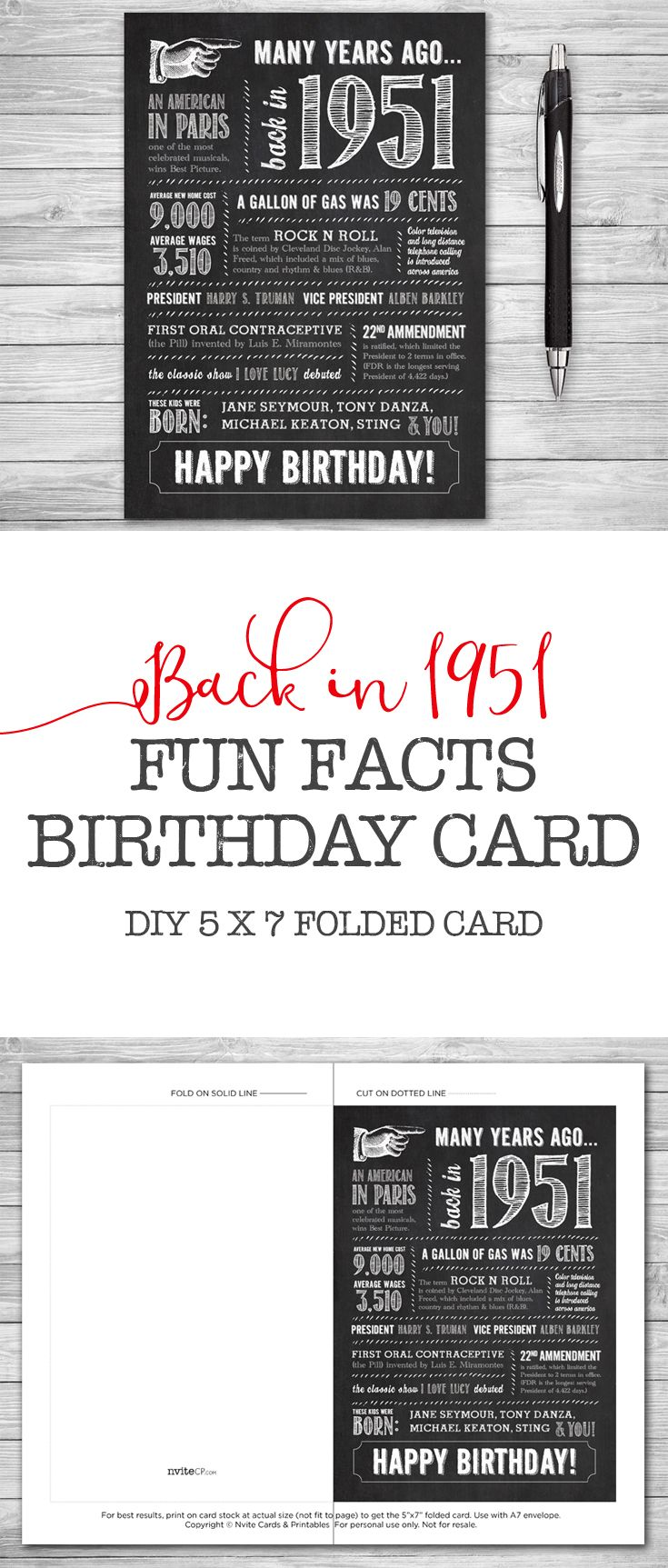 66th Birthday, Printable Card, 5x7 Folded, Many Years Ago Back in ...