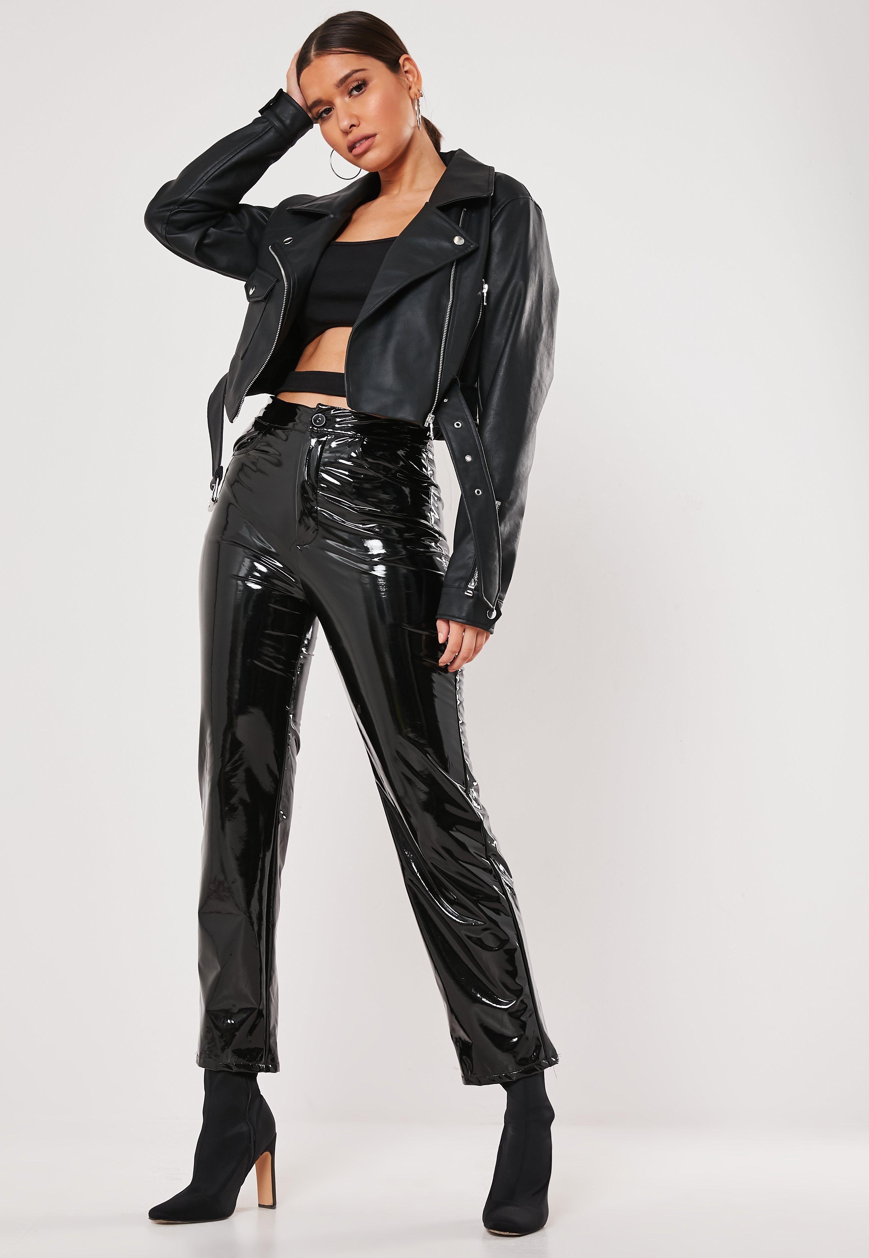 Premium Black Faux Leather Crop Biker Jacket Sponsored