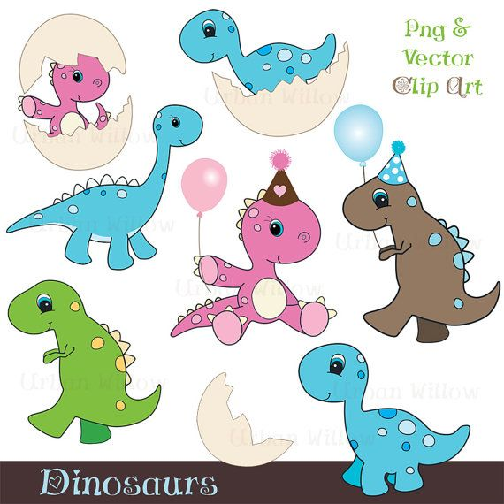 DINOSAURS  8 piece clip art set in high resolution by urbanwillow