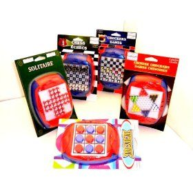 It's vacation time & you're taking it on the road. Do you have enough entertainment for the kids? These handy & diverse games will keep them entertained for hours at a time & there are plenty to share so no fighting. Enjoy chess, checkers, Chinese checkers, solitaire & tic tac toe with your kids this summer.