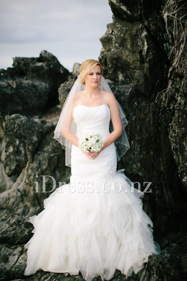 hand pleated strapless ivory tulle ruffled trumpet wedding dress ...