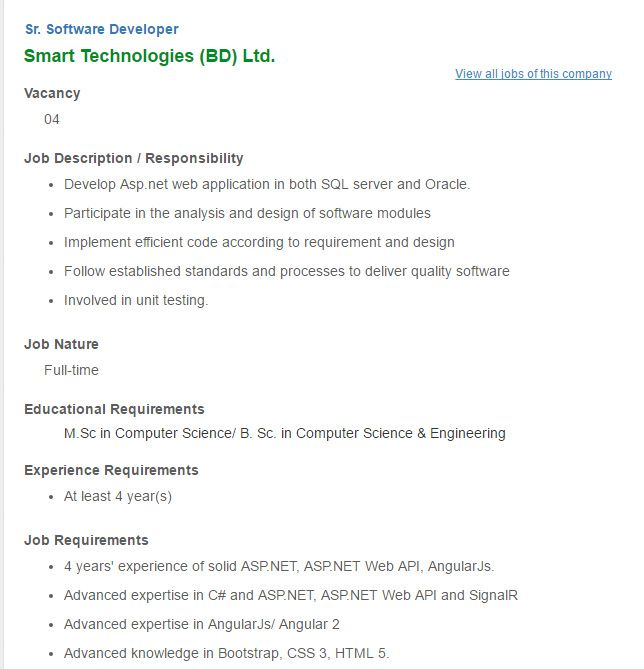 Career  Smart Technologies Bd Ltd  Sr Software Developer