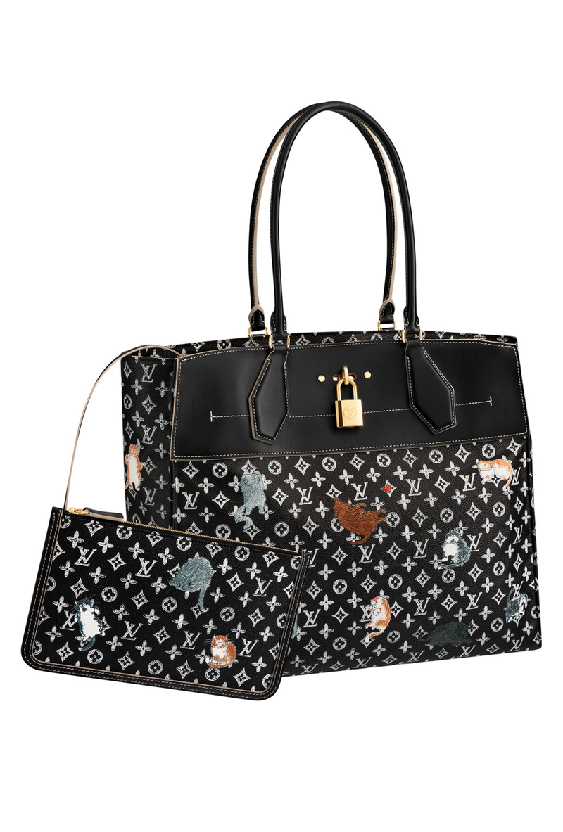aa9ab97be960 The black logo bag from Louis Vuitton gets a cute makeover with cats and  dogs designed by the brilliant Grace Coddington. Who doesn t want these  cute ...