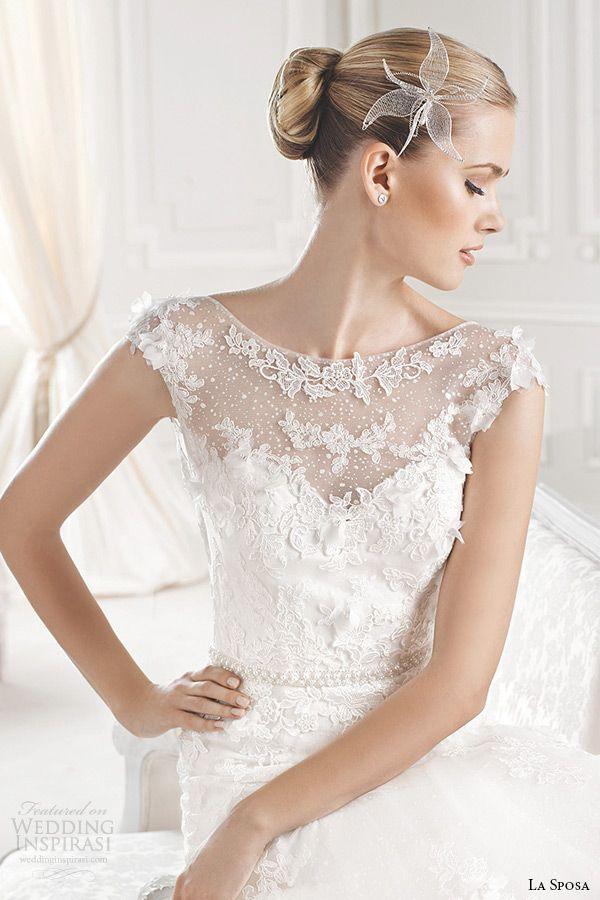 ad2dd2d8f94 la sposa bridal 2015 wedding dress sleeveless bateau sheer neckline chapel  train a line wedding gown eran close up