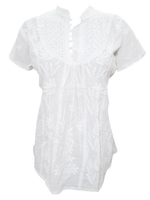 Ethnic Blouse Cotton Short Sleeve Embroidered Boho Tunic Top Shirt