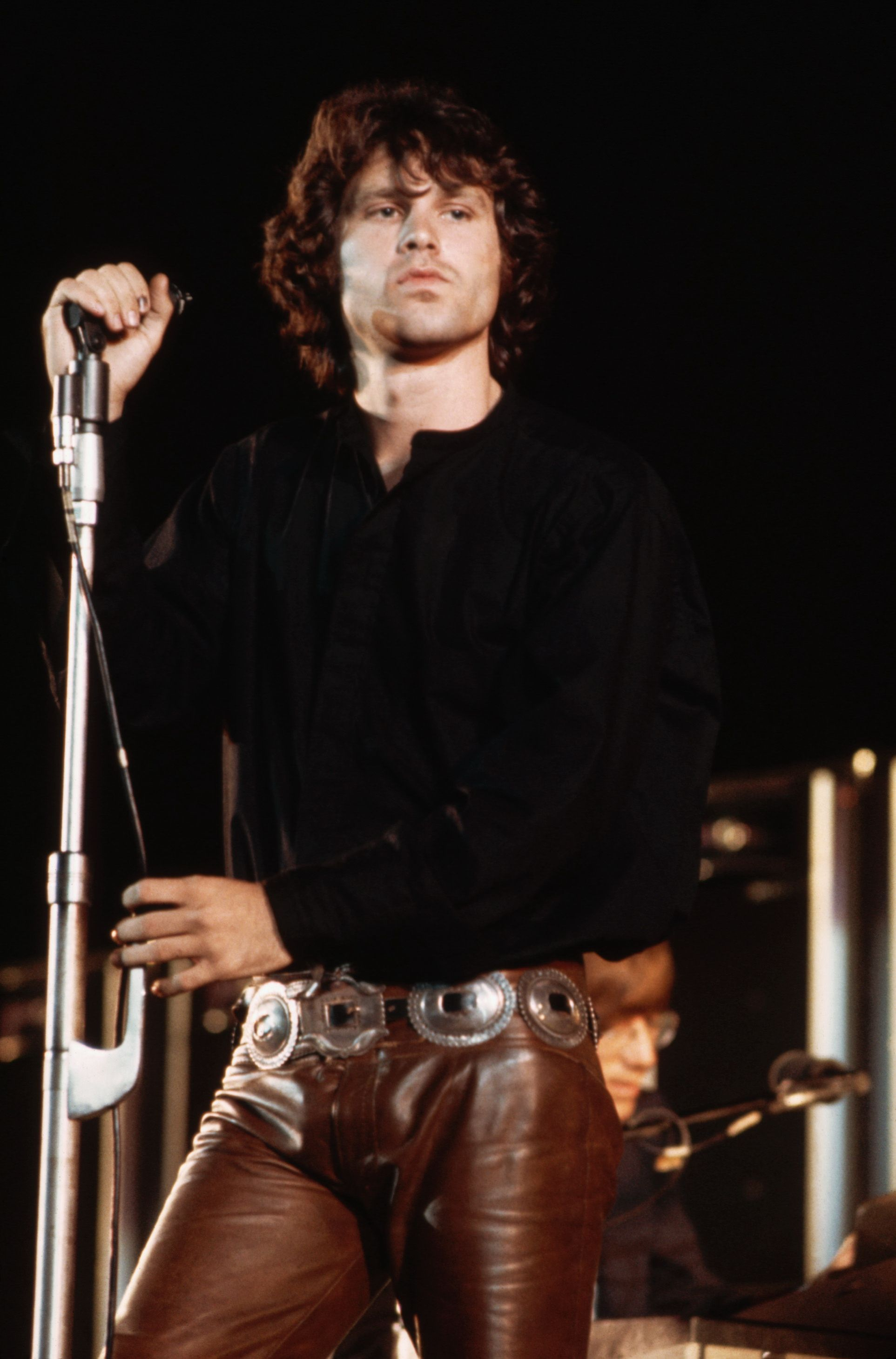 The Doors during their Hollywood Bowl concert Jim wearing his favorite leather pants he supposedly never took off!