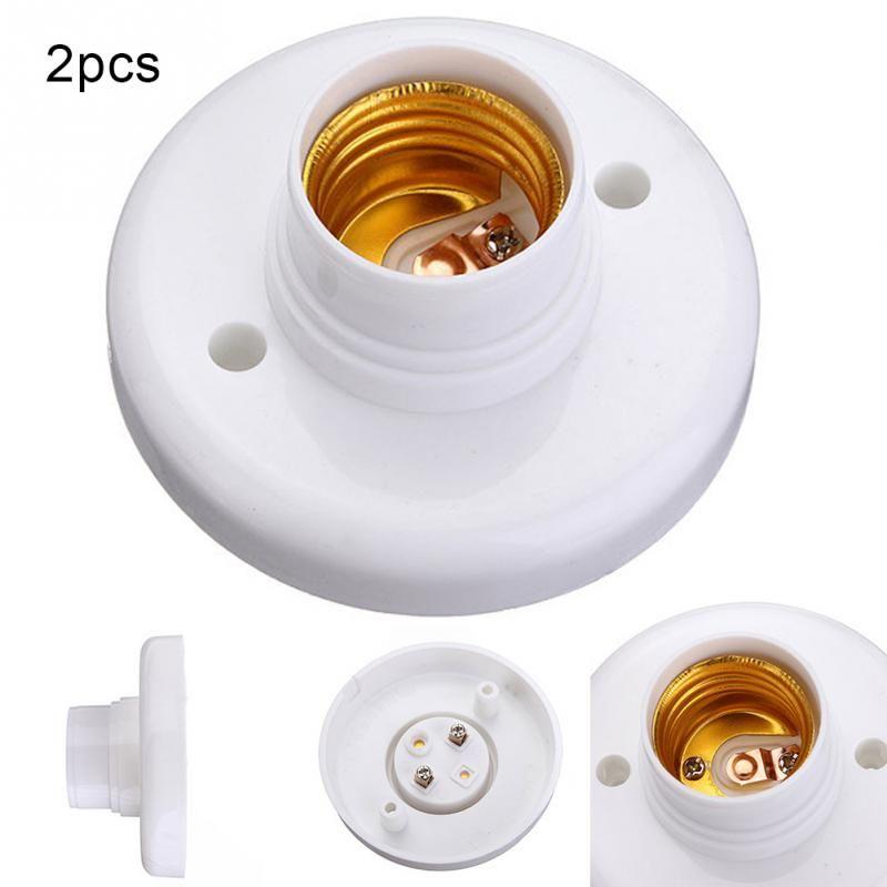 2pcs Useful E27 Round Plastic Base Screw Light Bulb Lamp Socket Holder White E27 Base Lamp Socket Popular Lamp Holder Light Bulb Lamp Lamp Socket Socket Holder