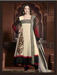 Esha Deol Cream & Black Colour Georgette Anarkali Salwar Kameez at $84.42 Only