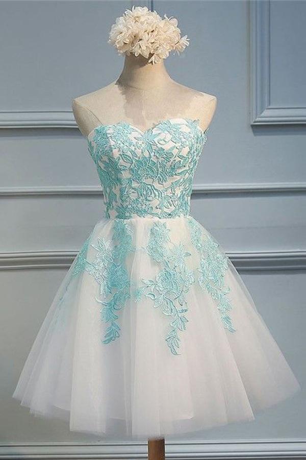 13fe064462b White Sweetheart Strapless Homecoming Dresses