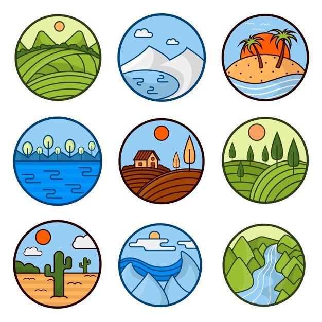 Nature landscape vector icons of mountai... | Premium Vector #Freepik #vector #logo #tree #travel #icon